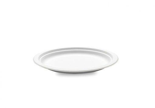 50 Assiettes Blanches en Canne à Sucre - 23cm - Crokus 1