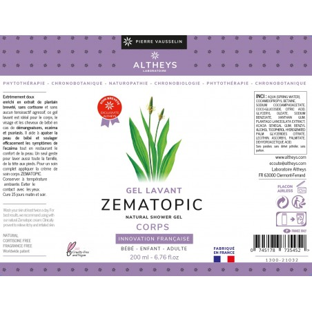 Crème de Soin Corps Peaux Atopiques - 200ml - Elatium - Zematopic - Altheys 4