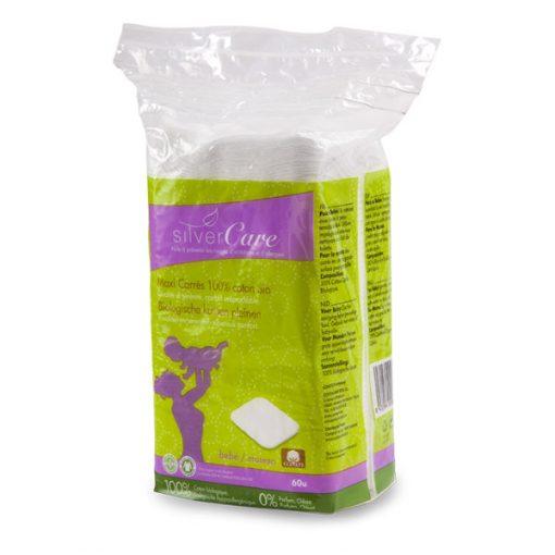 60 Maxi carrés démaquillants nettoyage 100% coton bio SilverCare