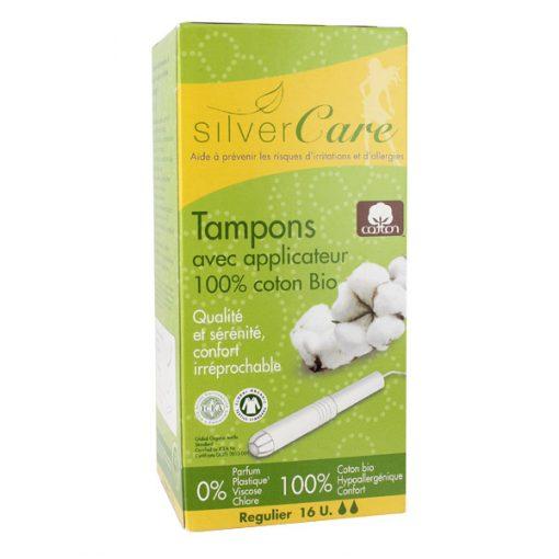16 Tampons Coton Bio Normal -Silvercare 1