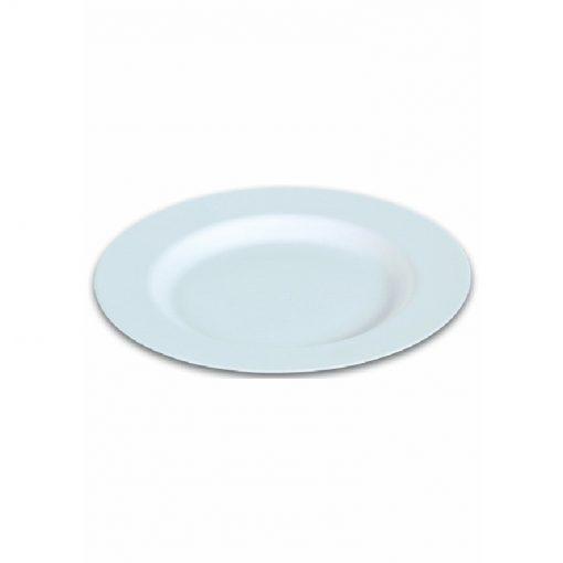 50 Assiettes Blanches Creuses en Canne à Sucre - 23cm - Crokus 1