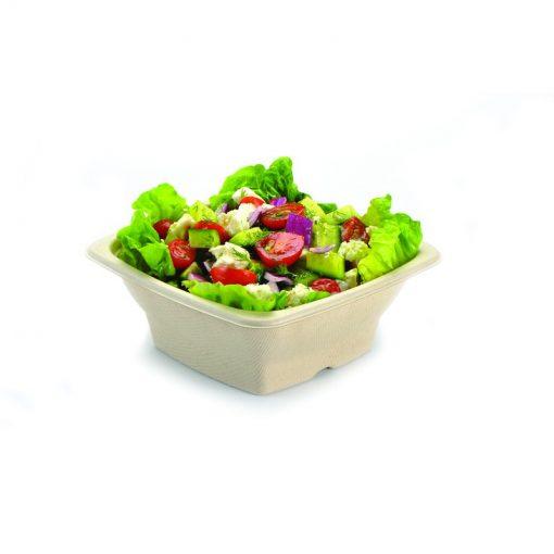 100 saladiers carrés pulpe naturel de canne à sucre 18 x 18 x 4.5 cm - 750 ml . 1