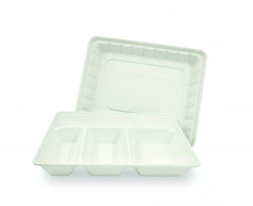 50 plateaux blancs 5 compartiments en canne à sucre pulp 2010. 1