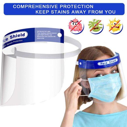 Visière de Protection intégrale en Plastique Transparent pour éviter la salive, gouttelettes avec Bande élastique 1